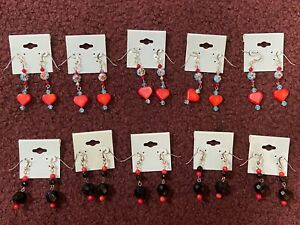 NEW 59 Pairs Earrings Coral Heart Sterling Silver Wire Glass Black Onyx Handmade