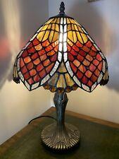 "Beautiful Tiffany Style Leaded Glass Table Lamp Shade Base Red Orange 12"" Shade"