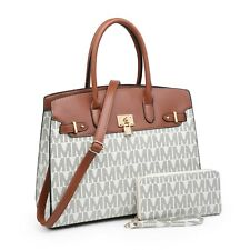 Women Fashion Tote Bag Faux Leather Satchel Shoulder Handbag & Wallet 2Piece Set