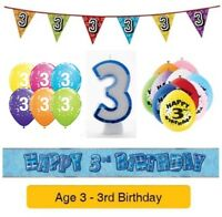 Happy 3rd Birthday AGE 3 Party Balloons Banners Decorations Badges Helium BOY
