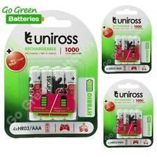 12 x Uniross AAA Rechargeable Batteries 1000 mAh NiMH