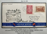 1939 Shediac Canada First Flight Airmail Cover To Dublin Ireland Pilot Signed