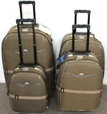 SET OF 4 SUITCASES LIGHTWEIGHT WHEELED TROLLEY CASE TRAVEL BAG LUGGAGE SET BROWN