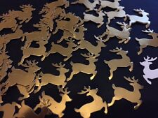 40 Antique Gold shiny Mirror Reindeer Table Confetti CARD Xmas Table Decoration