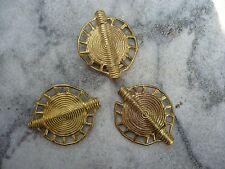 3 Stück flache Perle Messing Kreis 40 x 33 mm Kreis Ghana Ashanti Gelbguss