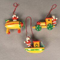 Lot of 3 Vintage Wood Santa on the Move Boat Train Balloon Christmas Ornaments