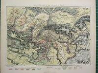 C1890 Ancien Carte ~ Paris Ville Plan Environs Géologiques Craie Argile