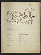 YALE RECORD May 16,1885 New Haven, CT, Campus News, Sports, Baseball, Dry Humor