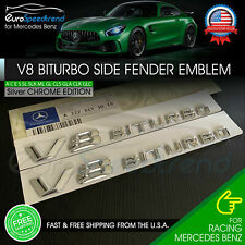 V8 BiTurbo Emblem Side Fender 3D Chrome Badge Mercedes Benz AMG CL63 E63 OEM NEW