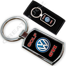 VW Golf GTI Auto PORTACHIAVI KEY CHAIN RING Fob metallo cromato NUOVO