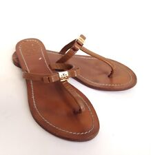 0d7e9eb2abb Tory Burch Brown Leather Leighanne Bow Logo Slides Flats Sandals 7 37
