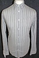 FRENCH CONNECTION Mens Grey Striped Long Sleeved Shirt Size Large Brand New
