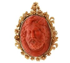 Antique Victorian 14k Gold Coral Cameo Bacchus High Relief Pendant Pin  11117999