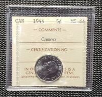 Canada 1944 5 Cent  Coin ICCS MS-64 Cameo