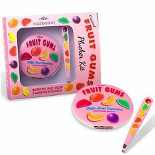 Fruit Gums Retro Tweezers & Magnifying Compact Mirror Kit Set Xmas Gift Pink