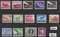 #6899  Stamp set 14 different MLH stamps / Third Reich / Hitler / WWII Germany