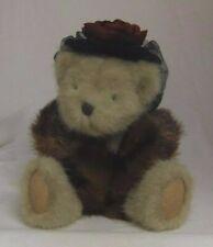 Dixie Hackett Boyds Bears 10in teddy bear in hat and faux fur stole 918334