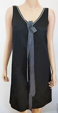 NWT JIL SANDER NAVY Black BOW RIBBON Detailing 100% SILK Dress 32 US-2 XS