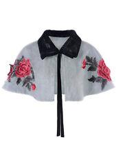 Women'S Plus Size Faux Fur Panel Embroidery Shrug Lapel Bowknot Cape