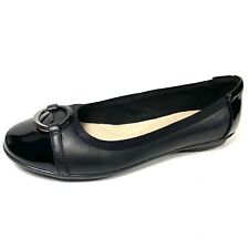 Clarks Gracelin Wind Women's Ballet Flats Black Cap Toe Leather Size 7.5 M New