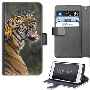 Tiger Roar Phone Case, PU Leather Flip Case, Cover For Samsung, Apple, Sony