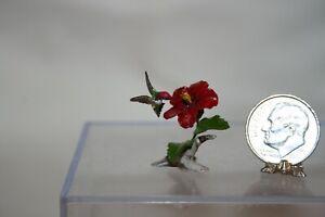 Miniature Dollhouse Mary McGrath Hummingbird & Hibiscus Sculpture 1:12 NR