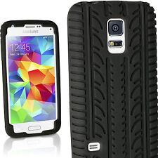 Negro funda silicona para Samsung Galaxy S5 mini G800 Neumático carcasa cover