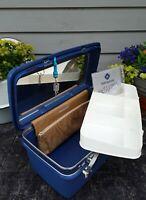 "Vtg. Samsonite Blue Concord 15 /1/2"" Train Case Luggage Carry on w / Tray & Key"