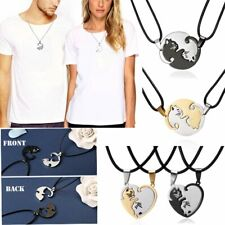 Chic Stainless Steel Heart Love Cat Animals Pendant Necklace Friendship Couple