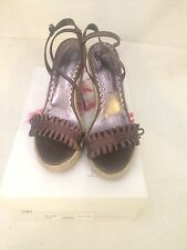 Womens Nordstrom Boutique Brown Satin Ruffle Ankle Strap Platform Wedge Shoes 8M
