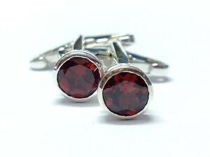 Silver Garnet Cufflinks Art Deco Garnet Cufflinks Red Garnet Groomsmen Cufflinks