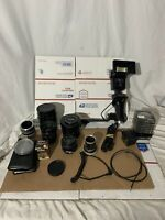 Lot Of Vintage Vivitar/canon Camera Lenses,filters,flash Esc