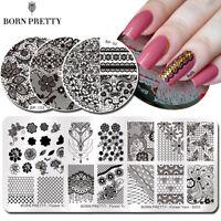BORN PRETTY Nagel Schablone Flower Series Nail Art Stamping Schablonen Maniküre