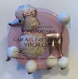 BATH & BODY WORKS PINK POODLE DOG SCENTPORTABLE HOLDER VISOR CLIP CAR FRESHENER