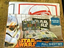 Disney STAR WARS DOUBLE Bed Set USA FULL Flat Sheet Fitted Sheet Pillowcases x 2