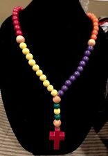 Necklace  Round Wood Beads Wooden Cross Prayer Multi Color