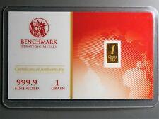 New 1/15 Gram Gold Bar  24K 999.9 Fine Gold Bullion Bar in sealed cert card 20f