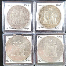 France lot 4 large silver Hercules coins 10 francs 1965 1967 50 francs 1977 1978