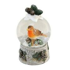 Robin & Mistletoe Christmas Snow Globe Water Ball Carved Wood Hand Painted Robin