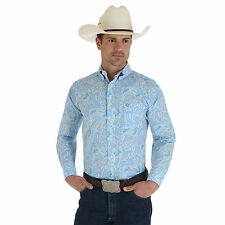 79546ddf8dcf5 WRANGLER Mens George Strait Blue White Long Sleeve Paisley Shirt MGSB067 NWT