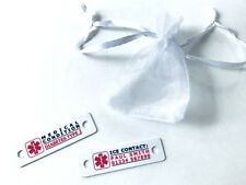 Personalised Medical ID ICE Emergency Contact Metal Trainer Tags For Runners