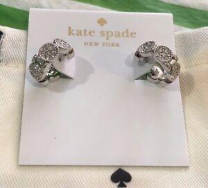NWT Kate Spade Gatsby Dot Huggies Hoops Earrings Silver Chrystals + Dust Bag