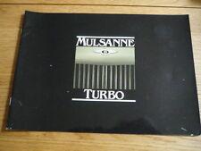 BENTLEY MULSANNE TURBO Brochure 1982  jm