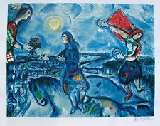 "MARC CHAGALL ""LOVERS OVER PARIS"" Limited Edition Facsimile Signed Lithograph Art"