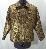 Ruby Rd. Gold Lame Jacket Blazer Womens 10 Snake Print Biker