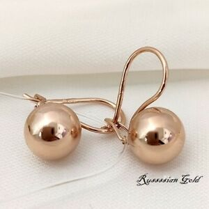 Earrings NEW Russian Solid Rose Gold 14K 585 fine jewelry 2g ball USSR vintage