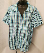 Basic Editions NWT Womens Multi Color Plaid Button Down Shirt Top Blouse Size 2X