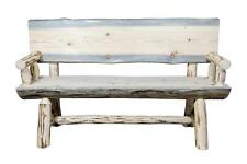 Rustic Outdoor Log Benches With Back and Arms REAL Half Log PINE 5ft Amish Made