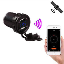 Car Motorcycle USB Charger 4.2A GPS Tracker Location LED Voltmeter Phone APP Map