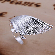 *UK* 925 SILVER PLT STATEMENT ANGEL WING ADJUSTABLE RING BIRD THUMB FEATHER GIFT
